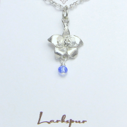 Larkspur Necklace Pewter July Flower