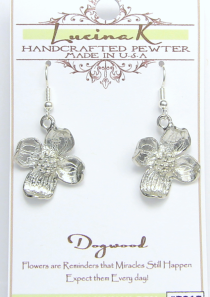 Dogwood Flower Earrings Pewter