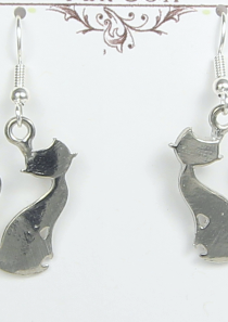 Aristocats and Cats Musical Theater inspired Pewter Cat Silhouette Earrings