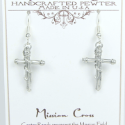 Mission Cross Earrings Pewter Serve and Witness